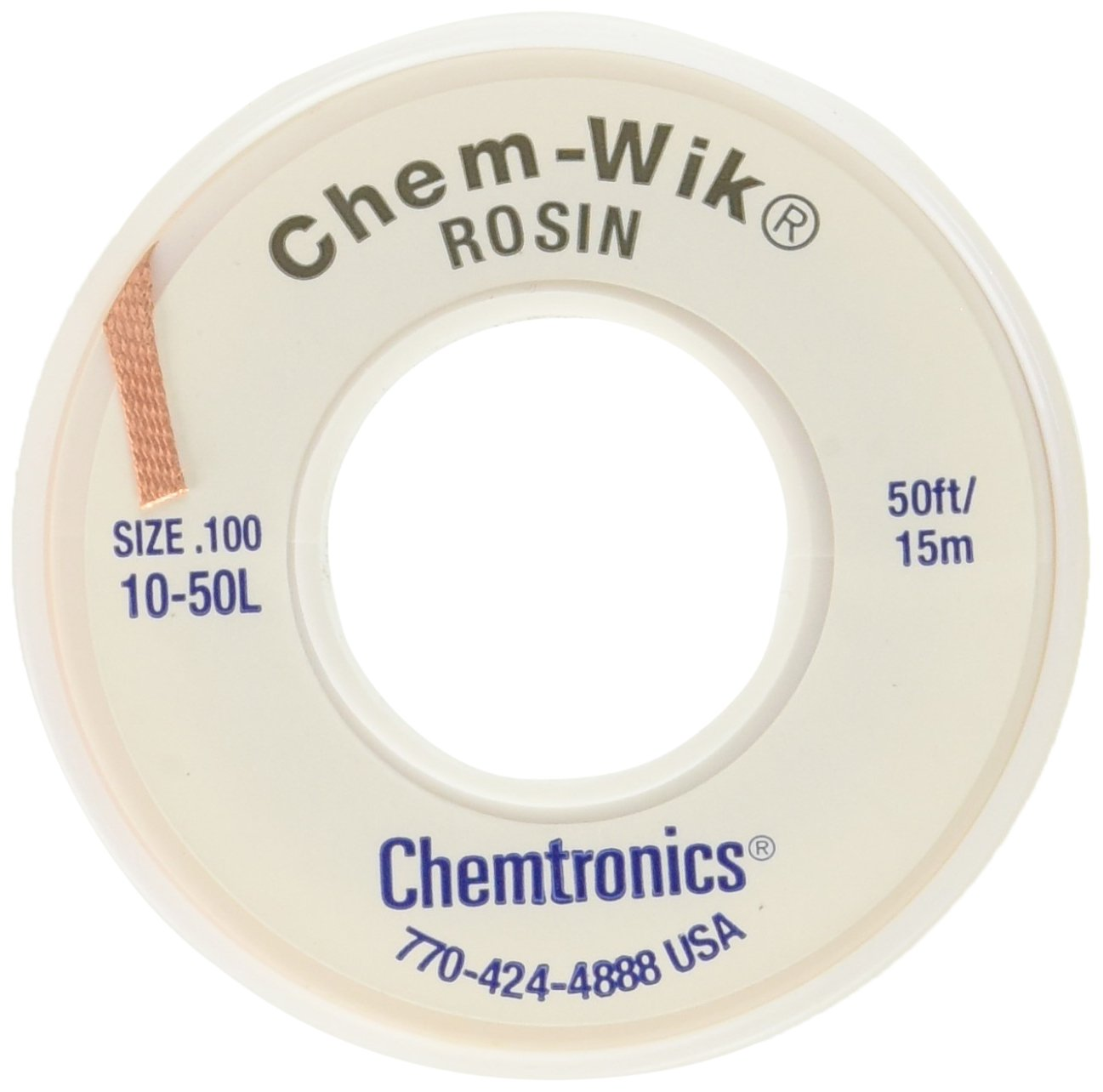 Chemtronics Desoldering Braid Chem Wik Rosin 10 50L 0.10 50ft.