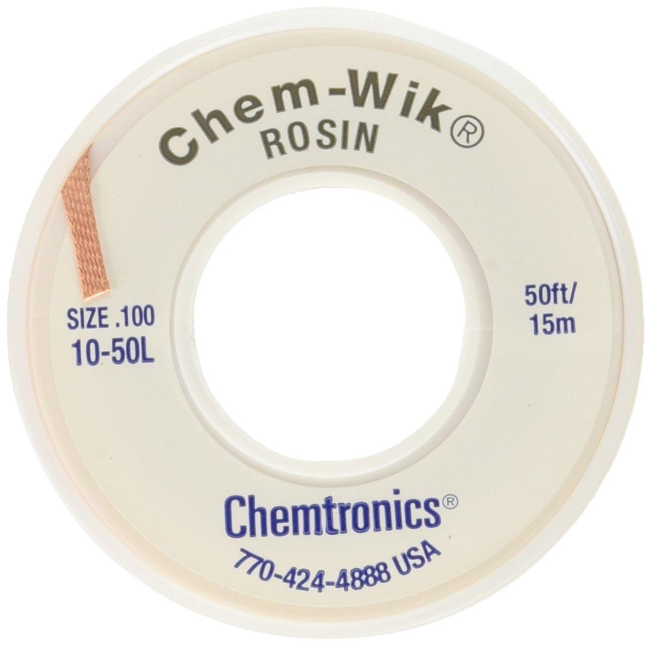 Chemtronics Desoldering Braid, Chem-Wik, Rosin, 10-50L 0.10'', 50ft.