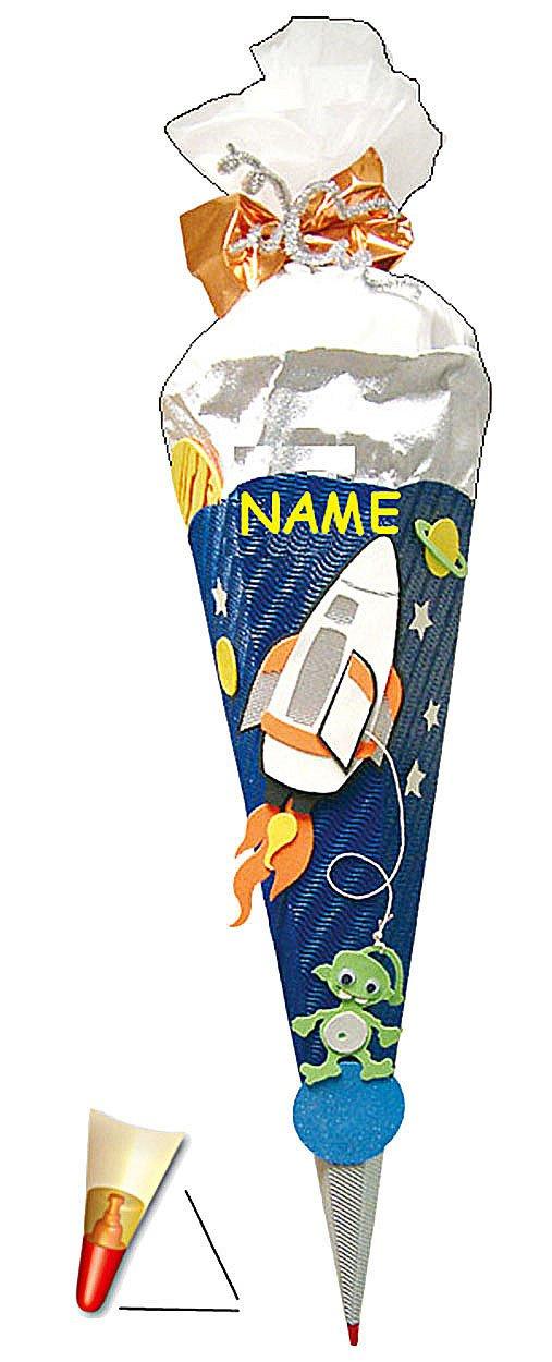 Unbekannt BASTELSET Schultüte - Weltraum 50 cm - mit Holzspitze - Zuckertüte Roth - ALLE Größen - 6 eckig Space Jungen Weltall Rakete Planeten Stern All Raumschiff Kinder-Land