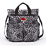 Leopard Print Diaper Bag for Mom Trendy Modern Maternity Baby Bag with Bottler Pockets Adjustable Shoulder Strap Stylish Gray Black Nappy Purse Fashionable Mummy Travel Handbags 2 Stroller Hangers