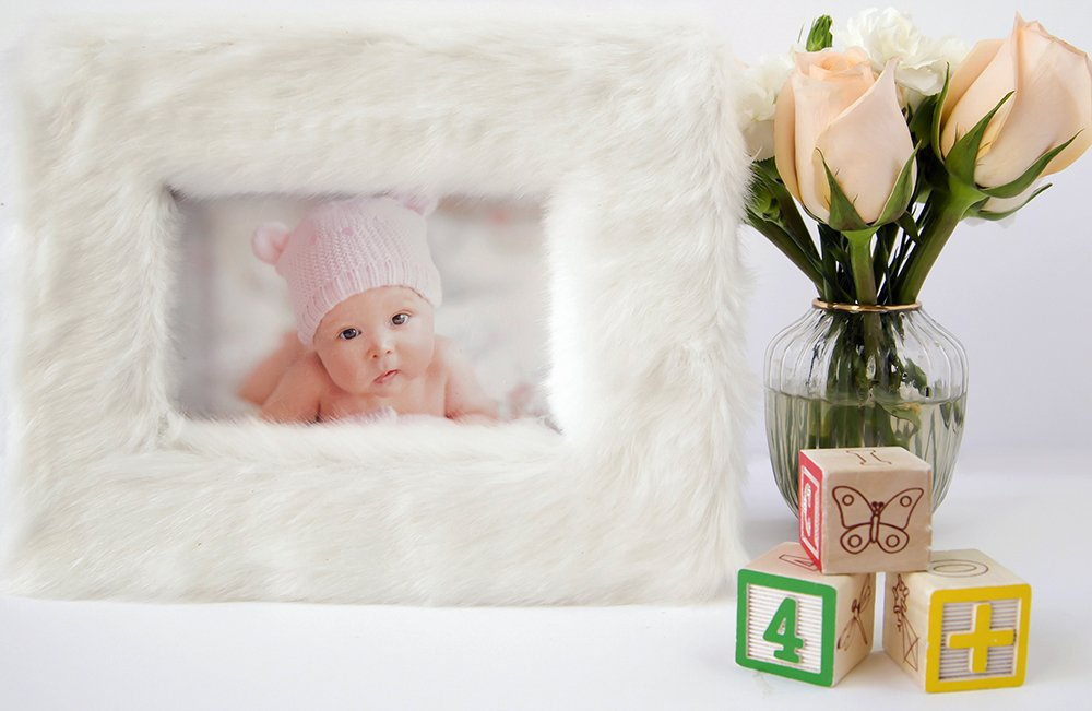 White Faux Fur Decor Picture Frame by Liz Cloth, Nursery Decor Baby Picture Frame for Baby Girl, Baby Boy, Neutral Baby Wall Art, Chic White Office Decor & Unique Thoughtful Baby Shower Gift