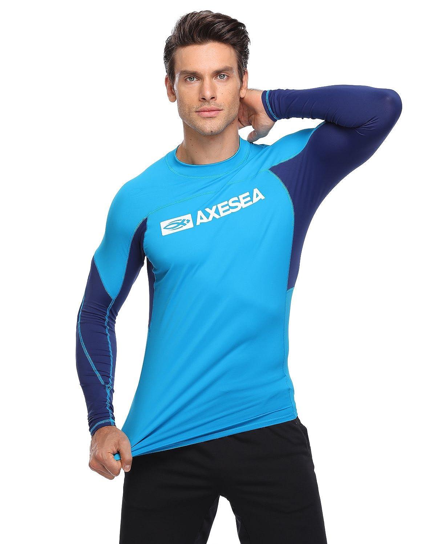 AXESEA Men Long Sleeve Rash Guard Quick-Dry UPF 50 Lightweight Swimsuit Swim Shirt