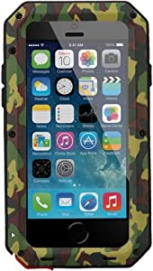 iPhone 7 Case, iPhone 8 Case, CarterLily Full Body Shockproof Dustproof Waterproof Aluminum Alloy Metal Gorilla Glass Cover Case for Apple iPhone 7 iPhone 8 4.7 inch - Camouflage
