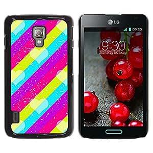 For LG Optimus L7 II P710 / L7X P714 Case , Pattern Pink Teal Purple Lines - Diseño Patrón Teléfono Caso Cubierta Case Bumper Duro Protección Case Cover Funda