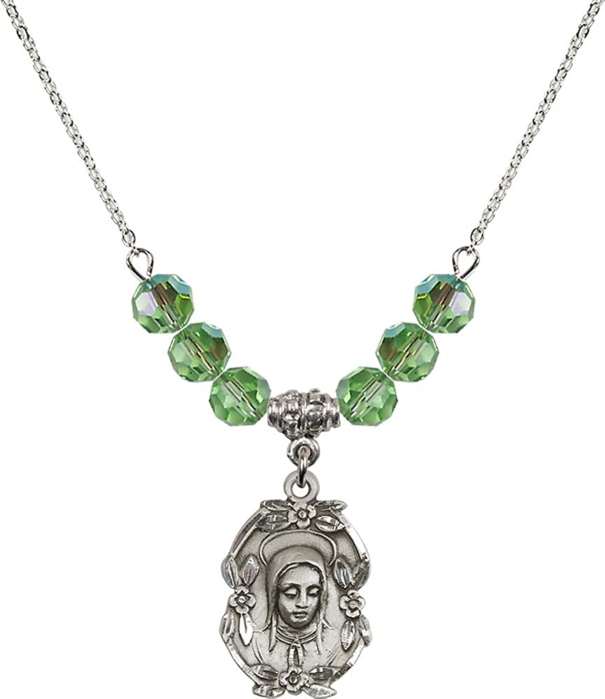 18-Inch Rhodium Plated Necklace with 6mm Peridot Birthstone Beads and Sterling Silver Madonna Charm.