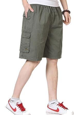 9855a2a53b YangguTown YGT Men's Cotton Full Elastic Waist Cargo Shorts | Amazon.com