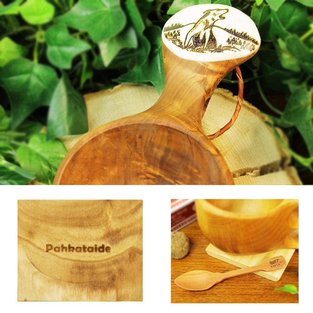 北欧フィンランド木製 本物ククサ Kuksa Pahkataide(パッカタイデ)ヴィサコイブ/カーリーバーチ オオカミの絵柄ツノ飾り 説明書 箱包装 木製ヴィンテージスプーン付き   B07655VK66
