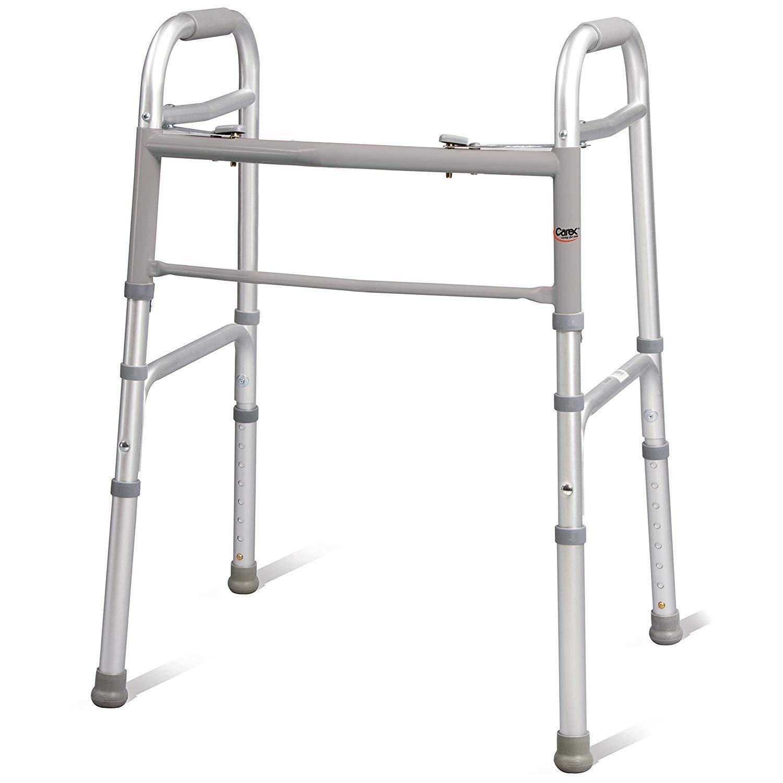 Carex Folding Walker for Seniors - Adult Walker - Portable Medical Walker with Adjustable Height, 30-37 Inches