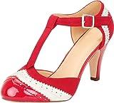 Cambridge Select Women's T-Strap Wingtip Style Cut