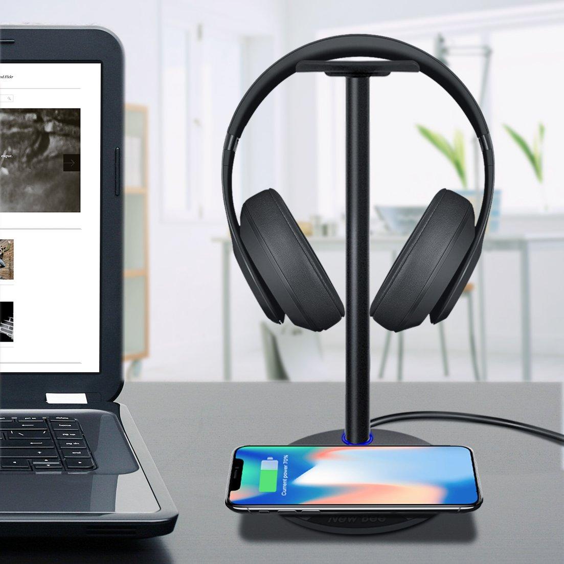 Kopfhörer Ständer mit Wireless Charger New Bee 2 in 1, Stabiles Wireless Pharging Pad mit Game Headset Ständer für Das iPhone 8/8 Plus/X, Samsung S8/8 Plus S7/S7 Edge/S6/S6 Edge mit LED-Anzeige