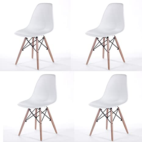 Fabulous Set Of Four White New Seat Height 18 5 Inches Chair White Wood Legs For Dining Room Armless Chairs White Unemploymentrelief Wooden Chair Designs For Living Room Unemploymentrelieforg