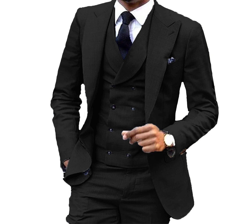 YSMO Men's Casual Slim Fit Skinny Suits Vest Business Tuxedo Three-Piece Jacket Pants Vest Set
