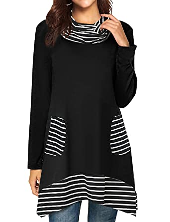 aeaf0cc9c4108 Amazon.com  StarVnc Women Cowl Neck Blouse Stripe Patchwork Long Sleeve  Tunic Pullover Shirt Tops with Pockets  Clothing