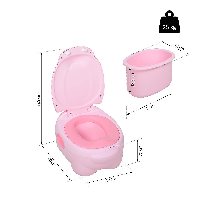 Baby Toilettentrainer Toilettesitz in Nilpferd Optik Plastik Rosa 40 x 30 x 23 cm Kindertoilette mit abnehmbarer Schale HOMCOM Kindert/öpfchen