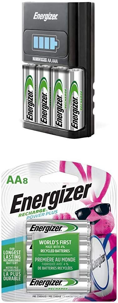 Energizer Recharge Combo Pack AA/AAA 1 Hour Charger with 4 AA Rechargeable Batteries and 8X AA Rechargeable Batteries