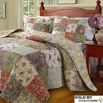 Amazon Com Floral Patchwork Quilt Amp Bedding Set On Sale