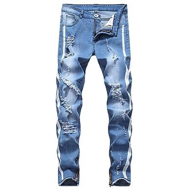 e420cfefe NPRADLA Homme Pantalons Pants Jeans Mode Nouveau Style Fait Vieux ...