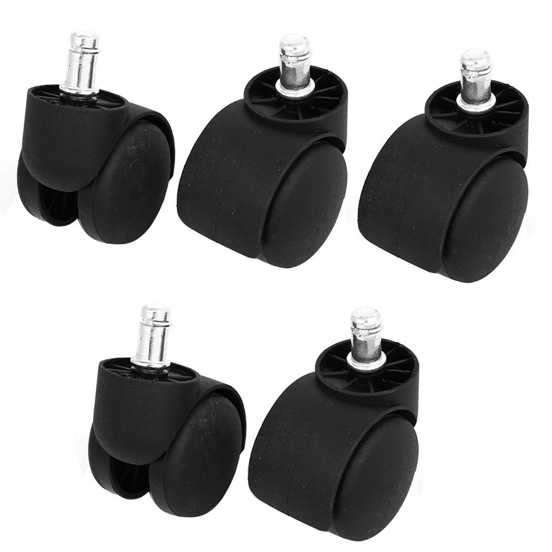 swh805840ca258040 SuperWarehouse 11mm x 22mm Grip Ring Stem Office Chair Swivel Twin Wheel Caster 5 Pcs
