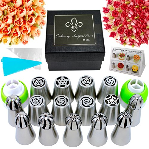 Premium Russian Piping Tips Assortment | Deluxe Cake Decorating Supplies (29 pcs Flower Tips & Sphere Ball Tips - Includes Couplers, Silicone Pastry Bag, Disposable Bags, Printed Instruction Guide)