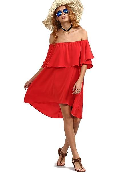 edcb10c02497 Romwe Women s Off The Shoulder Ruffle Casual Loose Shift Dress at ...