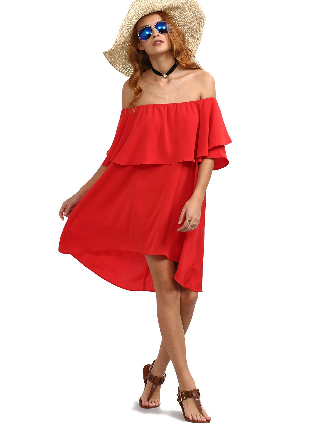 Romwe Women's Off The Shoulder Ruffle Casual Loose Shift Dress Red S
