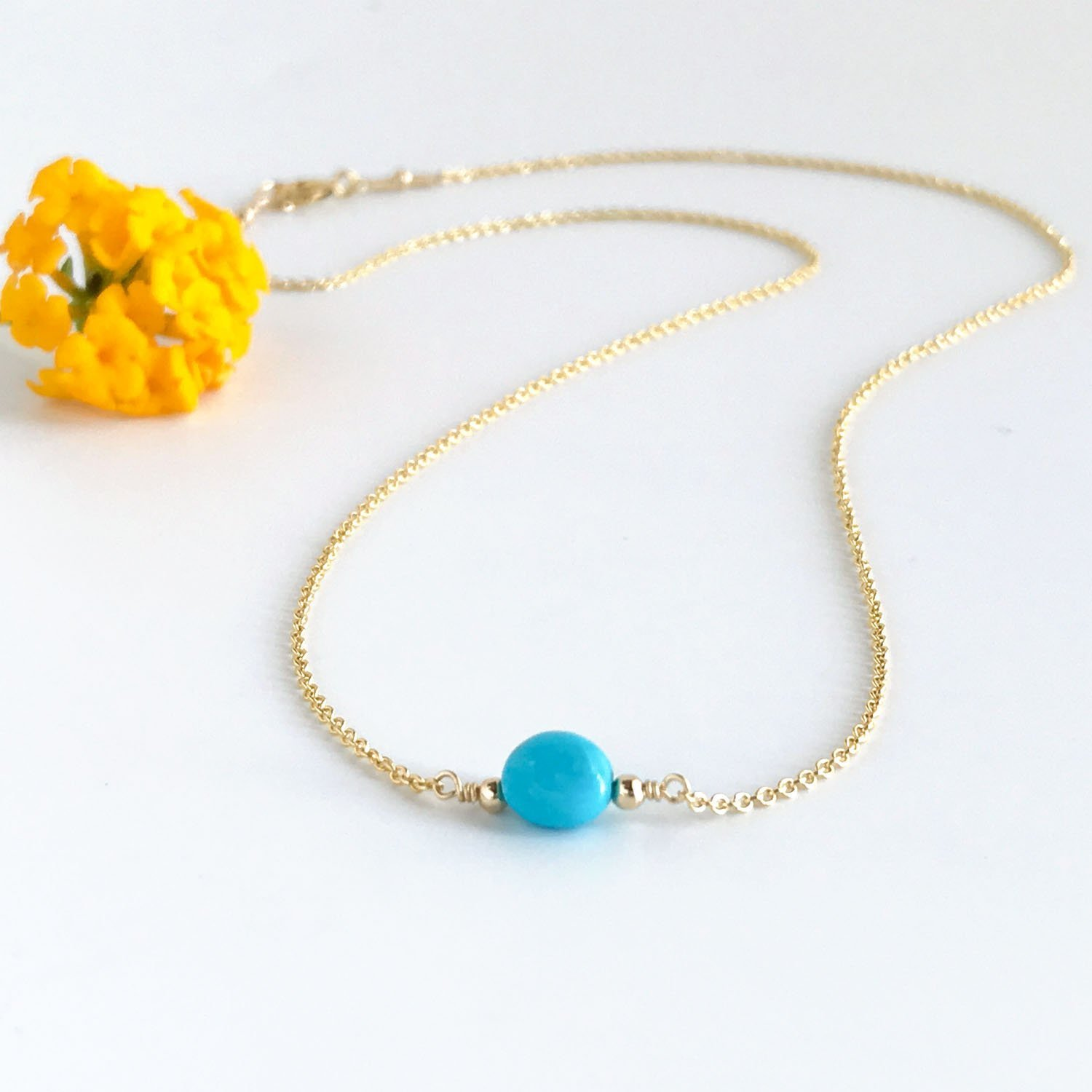 Turquoise Choker Necklace December Birthstone Dainty Gold Necklace