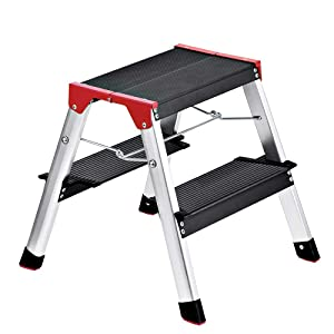 Delxo Lightweight Aluminum 2 Step Ladder RV Ladder Step Stool Folding Step Ladder with Anti-Slip Sturdy and Wide Pedal Ladder for Photography,Household and Painting 330lbs Capacity Black