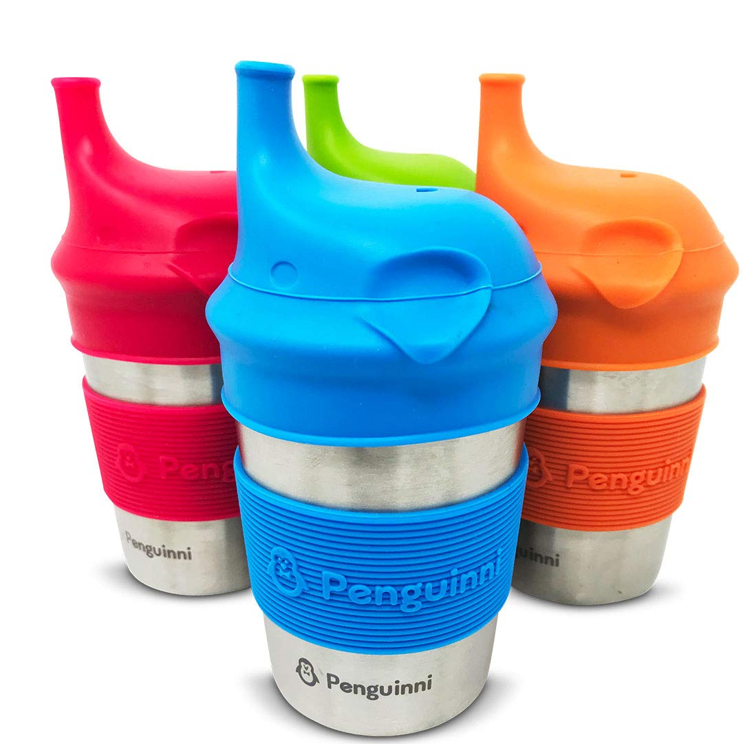 Penguinni Stainless Steel Sippy Cups | 4 Pcs of 10oz Cups | Perfect Transition Sippy Cups | Non-Spill Sippy Cups For Toddlers and Babies | Break-Proof and No Leak Sippy Cups For Baby | Non-Plastic by Penguinni