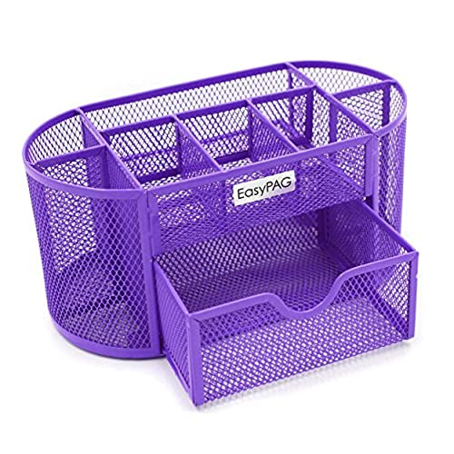 Gentil EasyPAG Desk Organizer 9 Components Mesh Office Desktop Supplies Caddy With  Drawer,Purple
