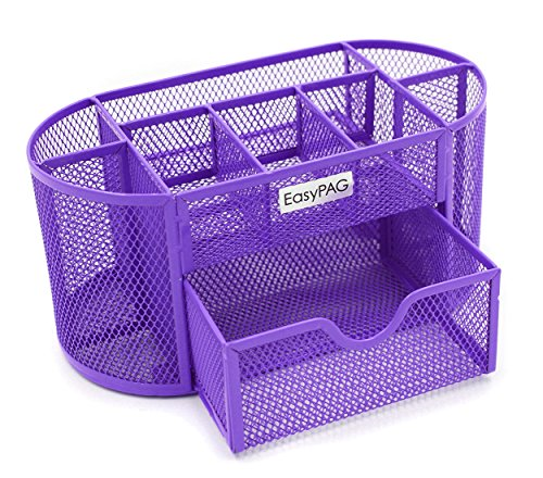 EasyPAG Desk Organizer 9 Components Mesh Office Desktop Supplies Caddy with Drawer,Purple -