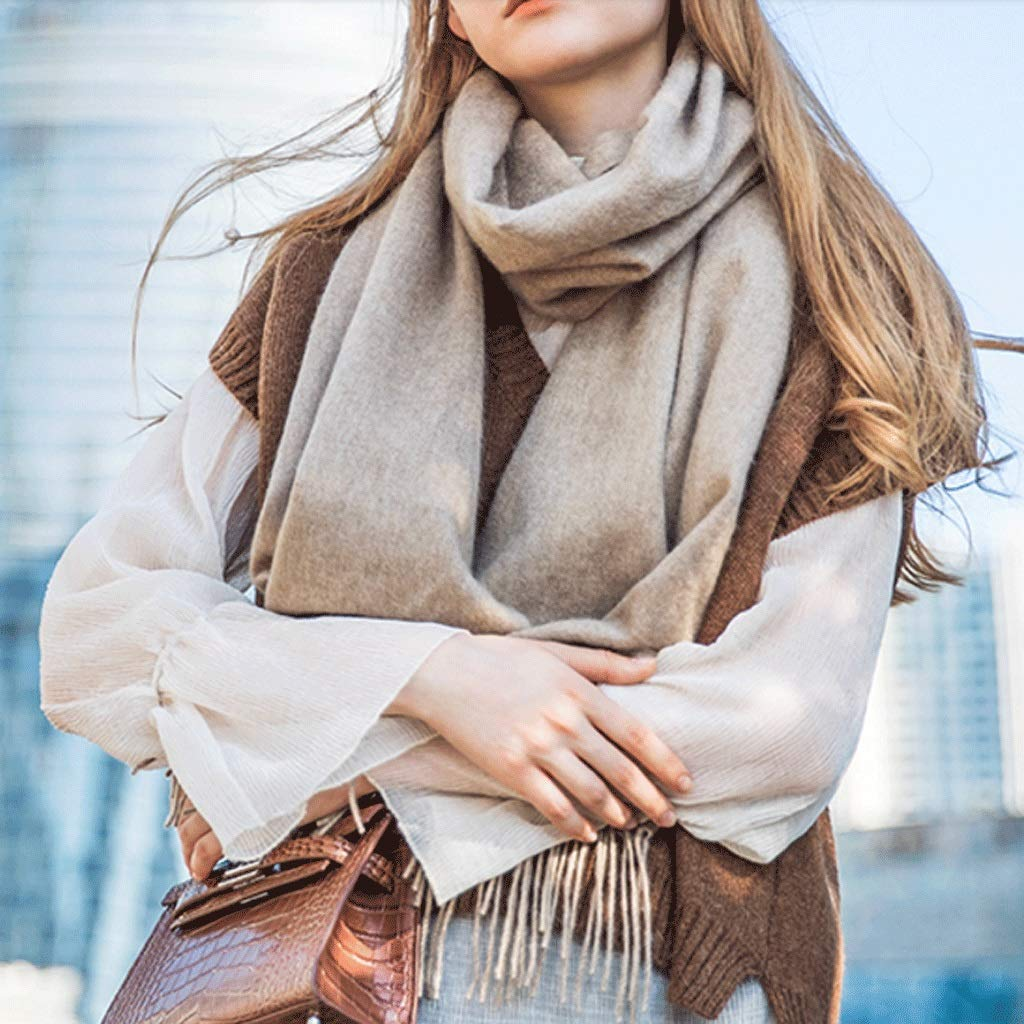 Light coffee color CCF Winter Scarf Woman Soft Elegant Classic Scarves Shawl 200cm × 40cm V (color   Light Coffee color)