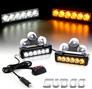 "2 X 6 LED Emergency Strobe Light Bar - 6.5"" 24W 9 Modes Traffic Advisor Emergency Beacon Warning Vehicle Strobe Flashing Lights Bar Kit for Interior Roof/Dash/Windshield/Grille/Deck (White/Amber)"