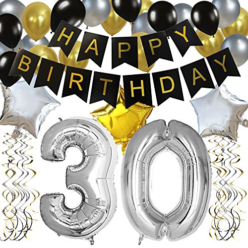 KUNGYO Classy 30TH Birthday Party Decorations Kit-Black Happy Brithday Banner,Silver 30 Mylar Foil Balloon, Star, Latex Balloon,Hanging Swirls, Perfect Thirty Years Old Party Supplies