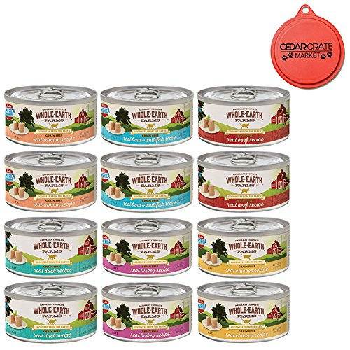Merrick Whole Earth Farms Grain Free Wet Cat Food Variety Pack - 6 Flavors - 2.75 oz. Each (12 Total Cans) Real Salmon, Turkey, Duck, Beef, Tuna & Whitefish, and Chicken Recipe with Can Topper