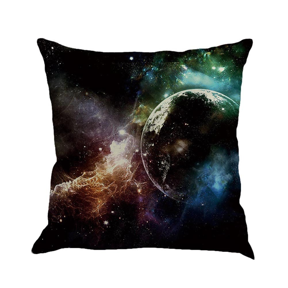SUNONE11 Mysterious Galaxy Nebula Planet Throw Pillow Cover Decorative Cushion Case Protector Pillowcase 17x17 inch for Living Room Office Decor