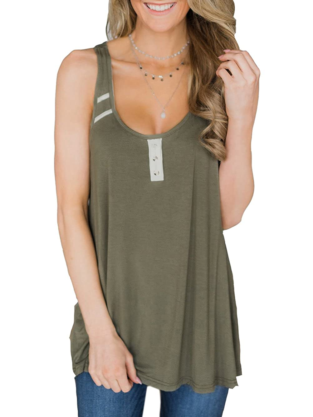 a98382e4bfe Famulily Women's Flowy Racerback Tank Tops Sleeveless Loose Fit Tunic Top T- Shirt at Amazon Women's Clothing store: