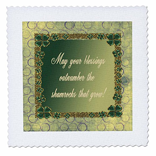 Shamrock Jewels - 3dRose qs_180857_5 Jewel Look Four Leaf Clover Circles Blessings Outnumber Shamrocks That Grow-Quilt Square, 14 by 14-Inch