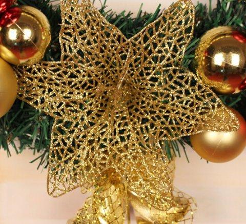 50/60/80cm Christmas wreath decorations Christmas decorations Christmas rattan ring Christmas Inn shopping Mall window (50cm, With lights)
