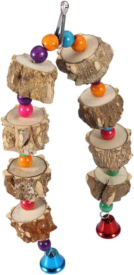 HEEPDD Parrot Chew Toy, Natural Pepper Wood Bite Toy Colorful Beads Swing Bird Cage Accessory for Macaw African Grey  Cockatoo Budgies Parakeet Cockatiel Lovebird