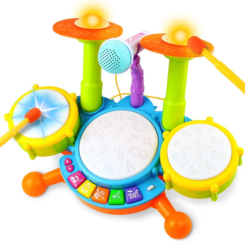 Fajiabao Drum Set for Kids Electric Musical Instruments Toys with 2 Drum Sticks Adjustable Microphone and Music Lights Indoor Family Games Early Learning Birthday Gift for Boys Girls Children
