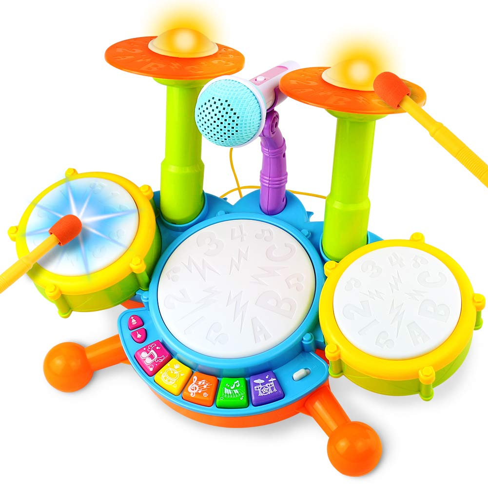 Fajiabao Drum Set for Kids with 2 Drum Sticks 1 Microphone with Light & Background Music Toy Electric Drum Musical Instruments Toys Gift for Boys Girls Children Toddlers Baby Infant by Fajiabao