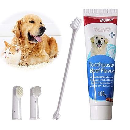 knowledgi Kit de Limpieza de Dientes para Perro Gato Kit de Cepillo de Dientes para Mascotas