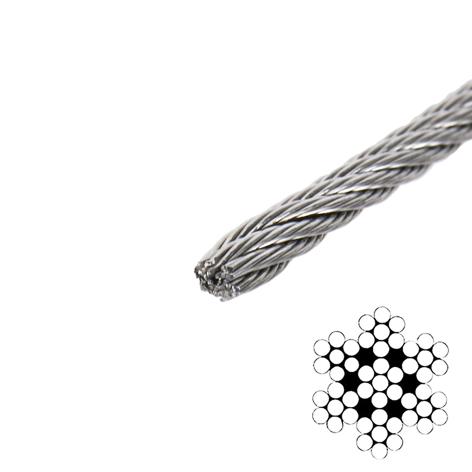 DasMarine Stainless Aircraft Steel Wire Rope Cable for Railing,Decking, DIY Balustrade, 1/8Inch,7x7,164Feet by DasMarine (Image #3)