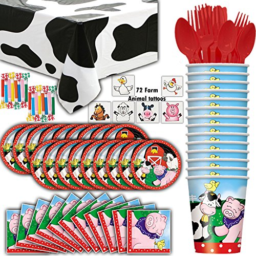 Farm House Animal Party Supplies - 16 Guests - Plates, Cups, Napkins, Cow Tablecloth, Cutlery, Farm Animal Tattoos, Blowouts - Perfect for a Farmer or Petting Zoo Theme Birthday Party - Barnyard Birthday Themes