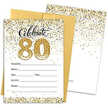 Amazon 80th Birthday Party Invitation Cards With Envelopes 25