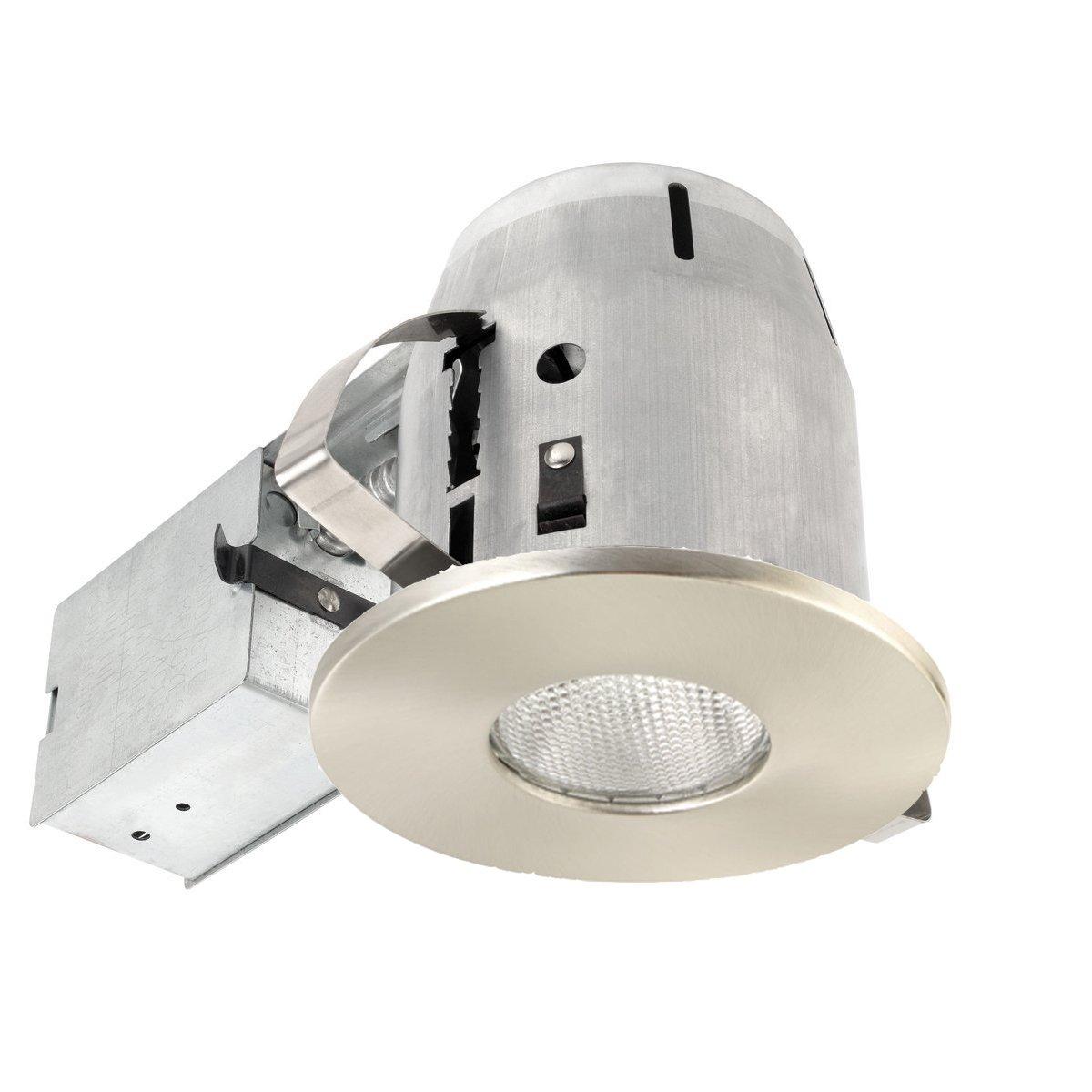 Globe Electric 9248601 4 inch Recessed Lighting Kit, Brushed Nickel Finish, Flood Light