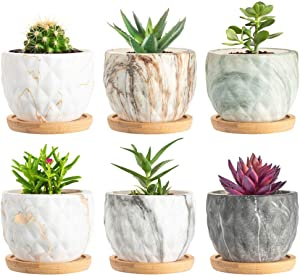 SKCORUK Succulent Pots 3.3inch Potted Modern Style Marble Ceramic Pot Cactus Bonsai Pot Container for Home and Office Decor 6 Pack