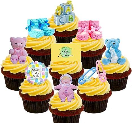 Baby Shower Gemelos, niño y niña/rosa y azul, decoración para tartas stand