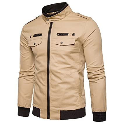 Amazon.com: Mens Military Cotton Jacket - Solid Colored Stand Collar Large Size Coats Casual Comfortable Classic Outerwear Spring Fall (Color : 2, ...