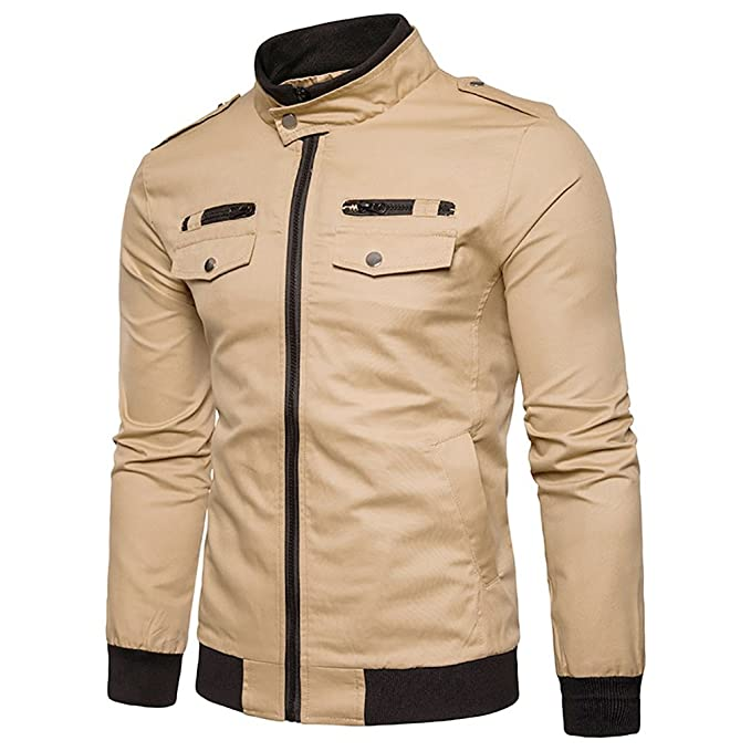 Amazon.com: Mens Military Cotton Jacket - Solid Colored Stand Collar Large Size Coats Casual Comfortable Classic Outerwear Spring Fall (Color : 3, ...